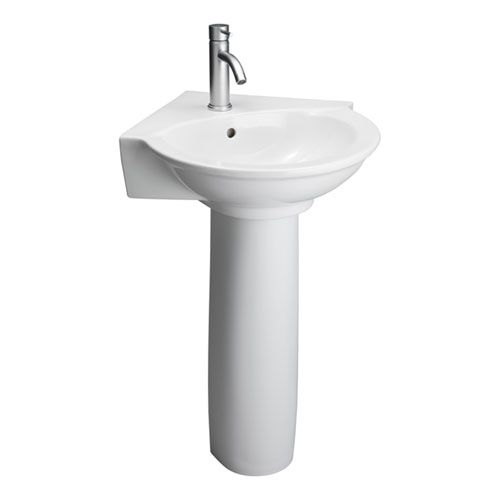 Evolution White Corner Pedestal Sink