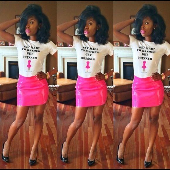 Hot pink PVC skirt