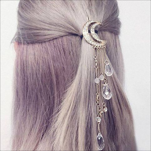 """☆++The+moon+is+known+as+a+feminine+symbol+and+represents+the+rhythm+of+time+as+it+embodies+the+cycle. ☆++Material:+Zinc+Alloy+rhinestone+crystal ☆++The+moon+measures:+3.5cm/1.37"""" ☆++Length:+17cm/6.69"""""""