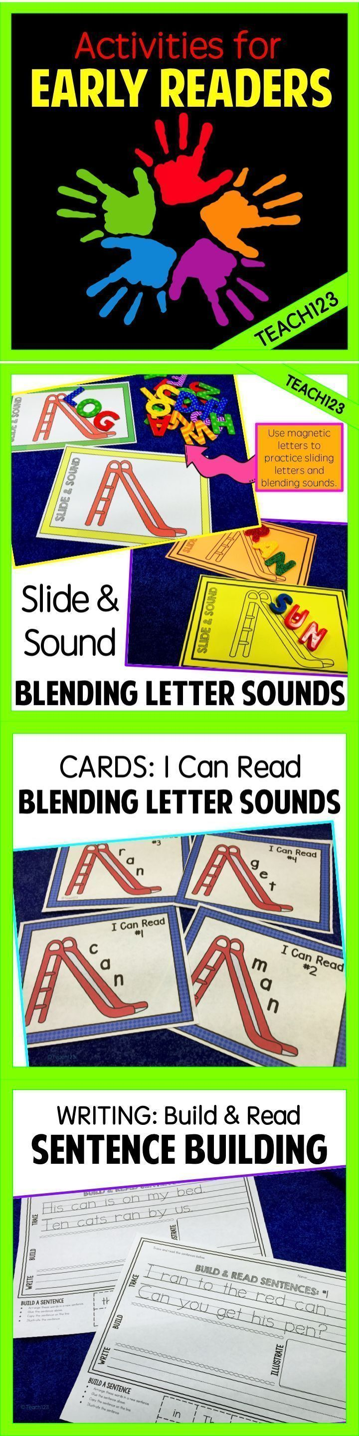 FREE Reading strategies for early readers: use a letter slide to work on blending sounds, practice high frequency words on the slide, and build sentence assignments.