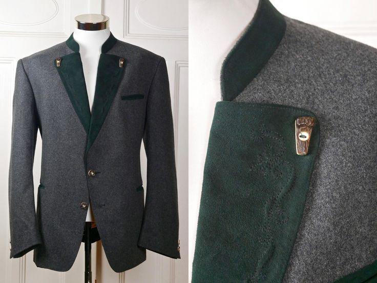 Wool Trachten Jacket, Austrian Vintage Octoberfest Jacket, Bavarian Blazer w Faux Antler Buttons: Size XL (44 US/UK) by YouLookAmazing on Etsy