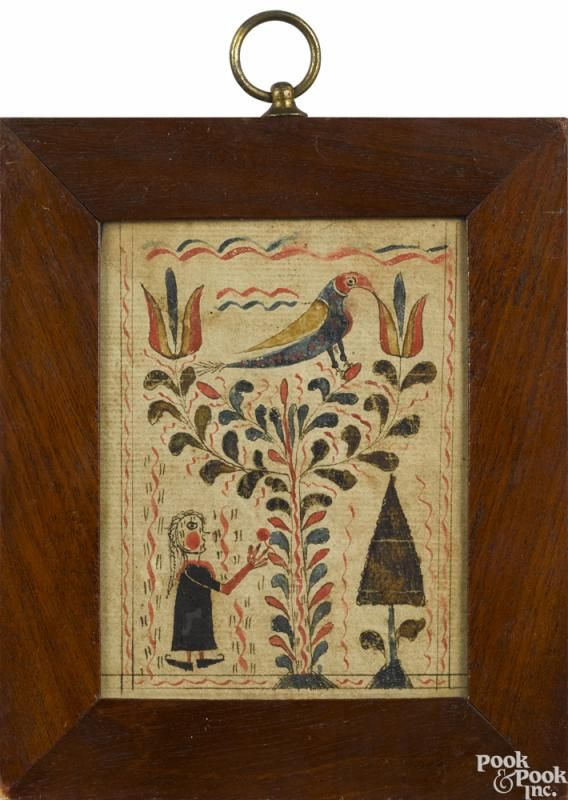 Southeastern Pennsylvania watercolor fraktur bookplate, early 19th c. - Price Estimate: $1000 - $2000
