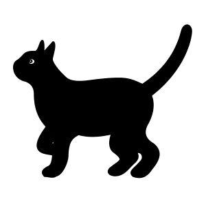 Kat - Silhouet af forventingsfuld kat i profil