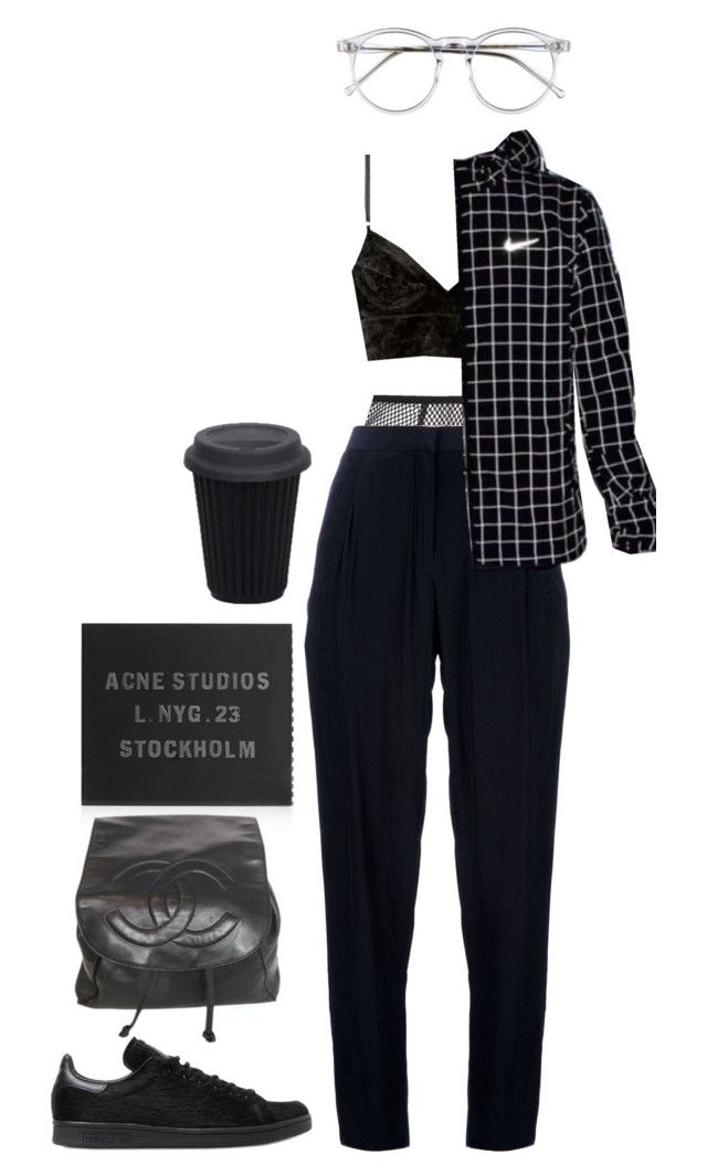 """""""Untitled #1004"""" by jayda-xx ❤ liked on Polyvore featuring Fleur du Mal, Acne Studios, adidas and Chanel"""