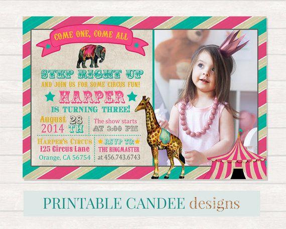 Girl Circus Birthday Invitation Vintage Circus by printablecandee