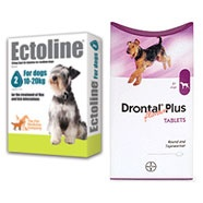 SPECIAL OFFER - Ectoline Spot on Dog 10-20kg 4 pipettes and 2 x Drontal Dog Tablets    £15.50