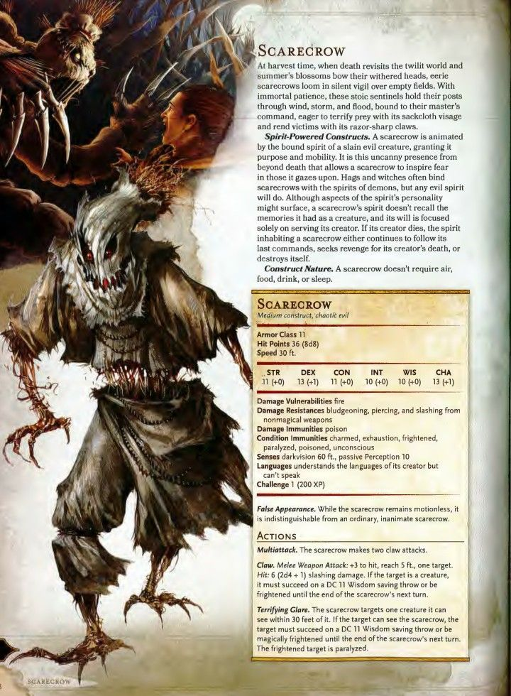 Scarecrow 5e | DnD in 2019 | Dnd monsters, Dnd 5e homebrew