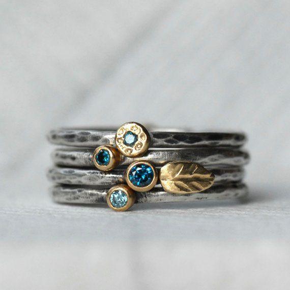 Set di anelli di foglie di diamante blu – 18k Anelli in oro e in argento – Set di 2 anelli di diamante stack – Eco-Friendly Recycled