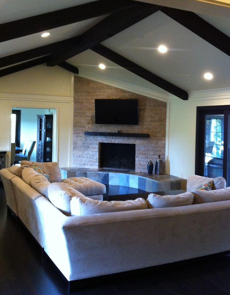 Stacked Stone Fireplace With Slate Hearth And Cedar Mantel Still Need To Add Crystals