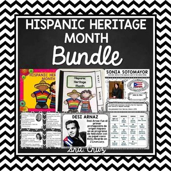 Hispanic Heritage Month BundleThis is a set of 4 Hispanic Heritage Month resources bundled together for a discount price to save you over 25%!  Includes a PowerPoint presentation, mini book, notable Hispanic American of the day resource, notable Hispanic American infographic project, and notable Hispanic American task cards and activities.