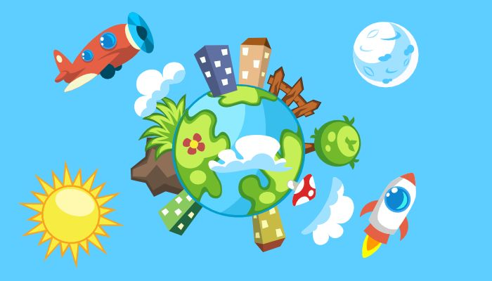 Cartoon Planet Pack contains:  1. Source file with set of objects: trees, plants, buildings, clouds and vehicles (format: SVG, EPS) 2. PNG images with transparent background 3. Readme.txt file
