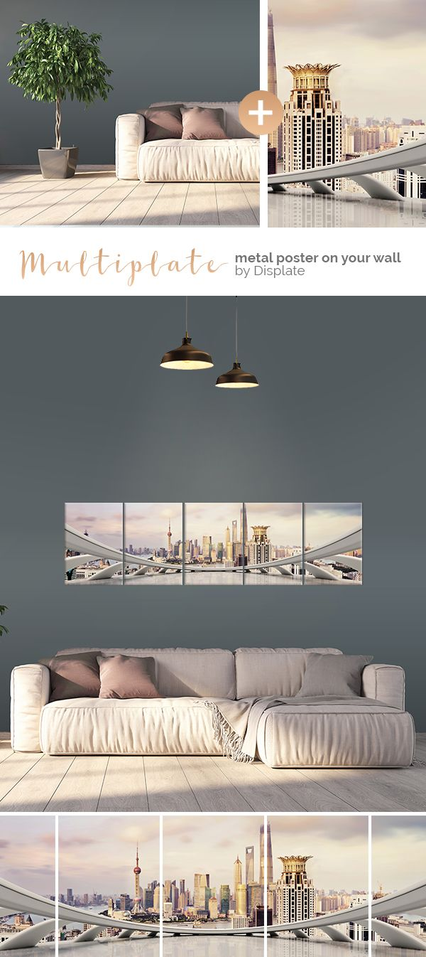 Change your interior in just a few moments! Beautiful Shanghai cityscape printed on several metal plates. Click through to see more large size artworks on metal! #multiplate