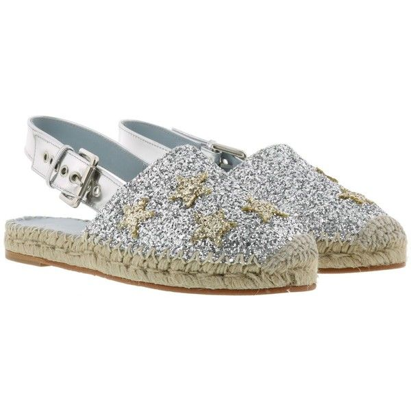#Findmeinwonderland Espadrilles (1.742.665 IDR) ❤ liked on Polyvore featuring shoes, sandals, silver, womenshoesflat shoes, silver glitter shoes, silver shoes, chiara ferragni espadrilles, leather sole shoes and chiara ferragni shoes