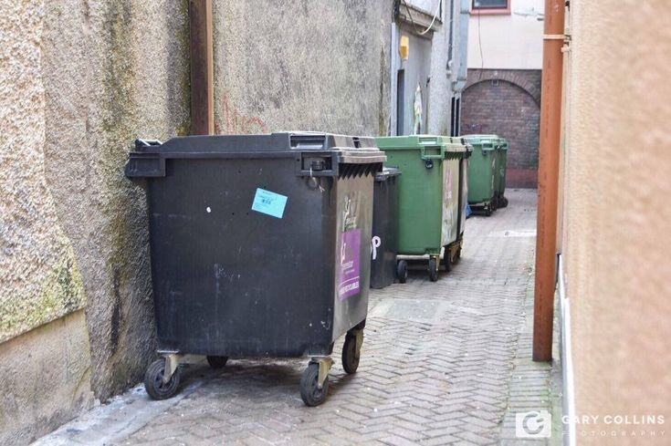 Laneway Bins in Ennis. Clare, Media, Freelance, Photographer, Press Photography