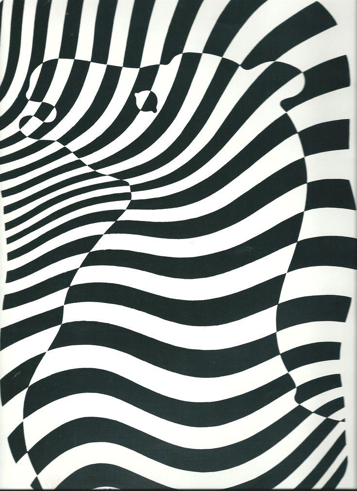 """Peindre des silhouettes d'animaux à la manière de """"zebra"""" de Victor Vasarely"""