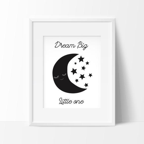 Dream Big Noir Et Blanc à Imprimer Affiche Bébé Affiche