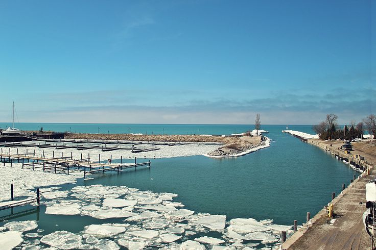 Broken ice at the harbour in Kincardine, Ontario