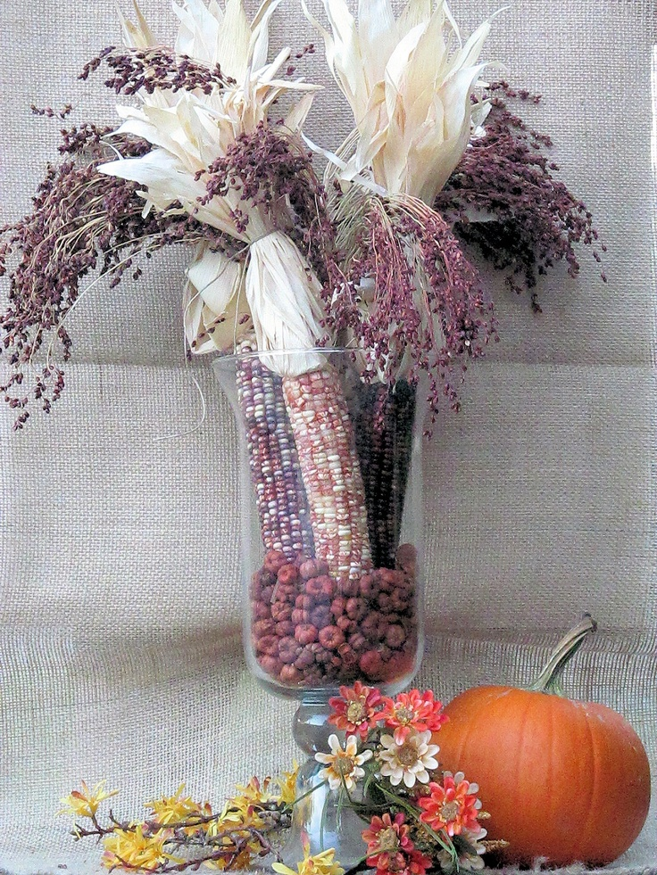 Indian Corn and Brooms Corn make a lovely fall centerpiece