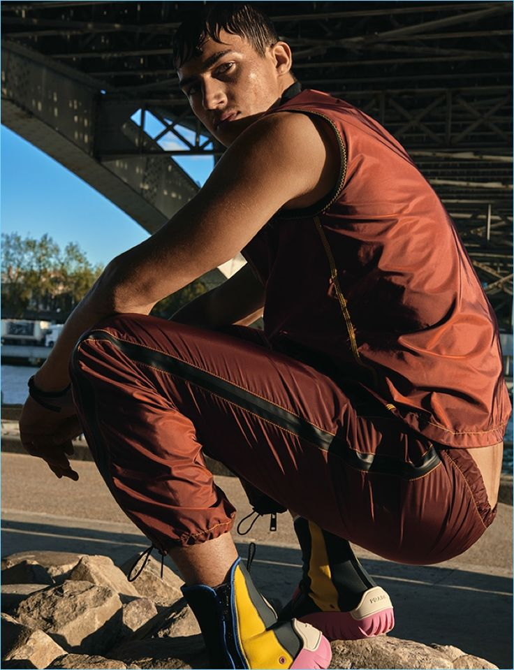 Model Alessio Pozzi wears a sporty look from Prada for the pages of Wonderland.