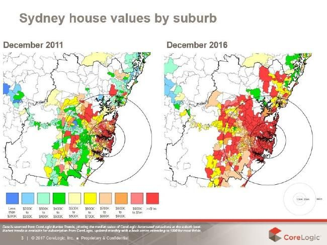 The number of Sydney suburbs where house prices are now at least seven figures is astonishing and depressing. Graph: CoreLogic