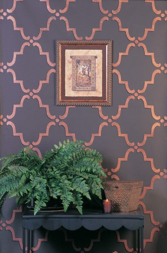 Moroccan Wall Stencil Moorish Trellis Allover Stencil for Easy DIY Wallpaper. $44.00, via Etsy.