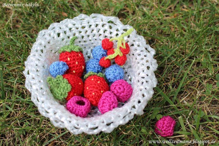 Beerenmix häkeln - Johannisbeeren, Himbeeren, Blaubeeren, Erdbeeren