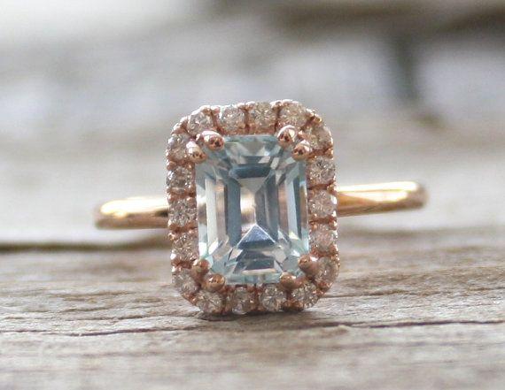 Pastel Blue Aquamarine Diamond Engagement Halo Ring in 14K Rose Gold - March Birthstone