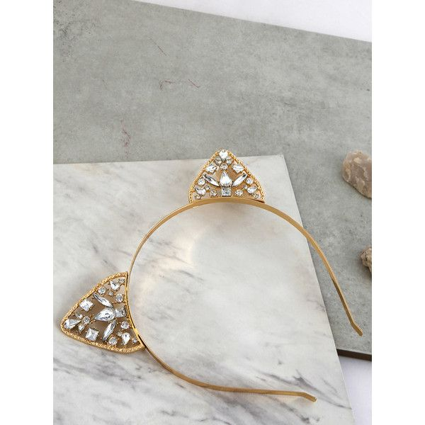 Metallic Jewel Cat Ears Headband GOLD ($8.50) ❤ liked on Polyvore featuring accessories, hair accessories, gold, gold headwrap, jewel headband, headband hair accessories, jeweled headband and cat ears headband