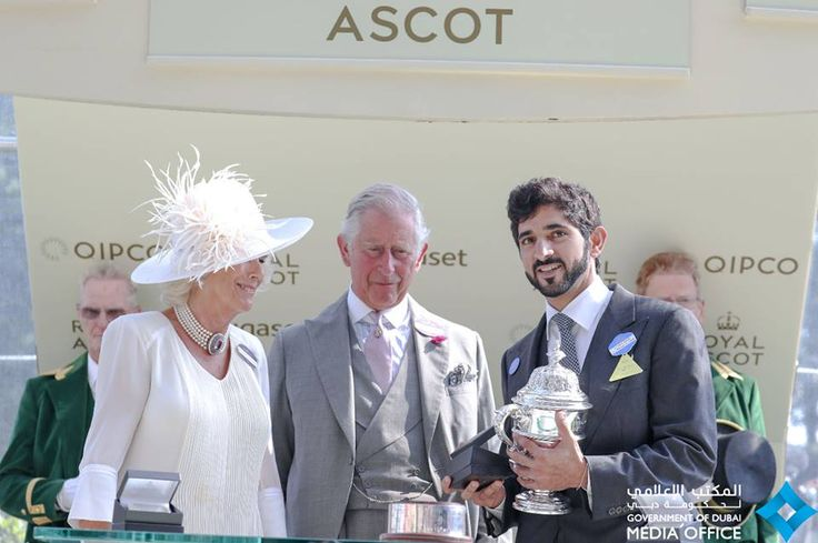 Camilla Shand, Carlos Windsor y Hamdan bin Mohammed bin Rashid Al Maktoum, Royal Ascot, 20/06/2017. Vía: Government of Dubai Media Office