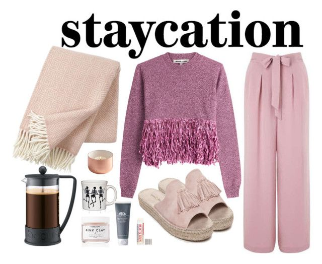 """#staycation"" by smithsinspiration ❤ liked on Polyvore featuring Miss Selfridge, McQ by Alexander McQueen, Seven Dials, Klippan, Herbivore, Bodum, Fiesta, Origins, Burt's Bees and ootd"