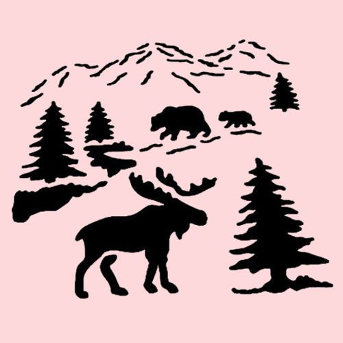 Moose Stencil Northwoods Bears Pines Trees Bear Stencils