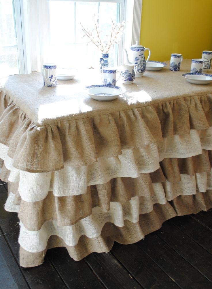 Natural and Cream Burlap Ruffled Tablecloth. $250.00, via Etsy.
