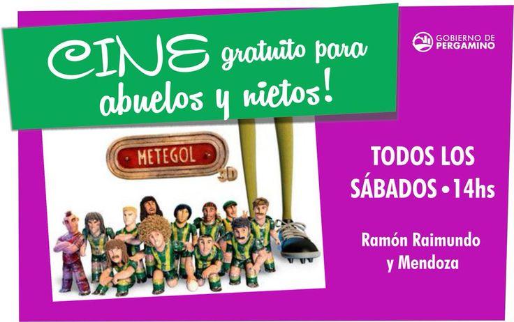 """#Cine gratis para abuel@s y nietos! Los sábados, 14hs en """"La casita de mis viejos"""" Este finde la película es METEGOL!"""