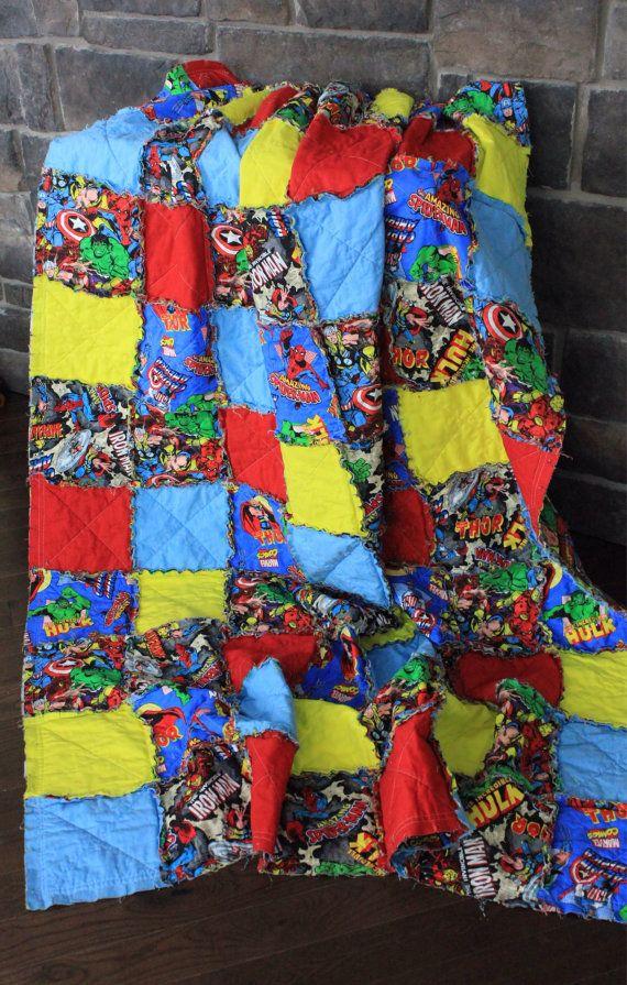 Twin Size Rag Quilt, Marvel Comic Quilt, Spiderman, Hulk, Thor, Boy Rag Quilt, Twin Quilt, Ready ...