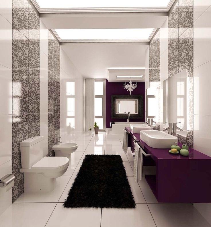 Luxury master bathroom with purple accents. 50 Magnificent Luxury Master Bathroom Ideas ➤To see more Luxury Bathroom ideas visit us at www.luxurybathrooms.eu #luxurybathrooms #homedecorideas #bathroomideas @BathroomsLuxury