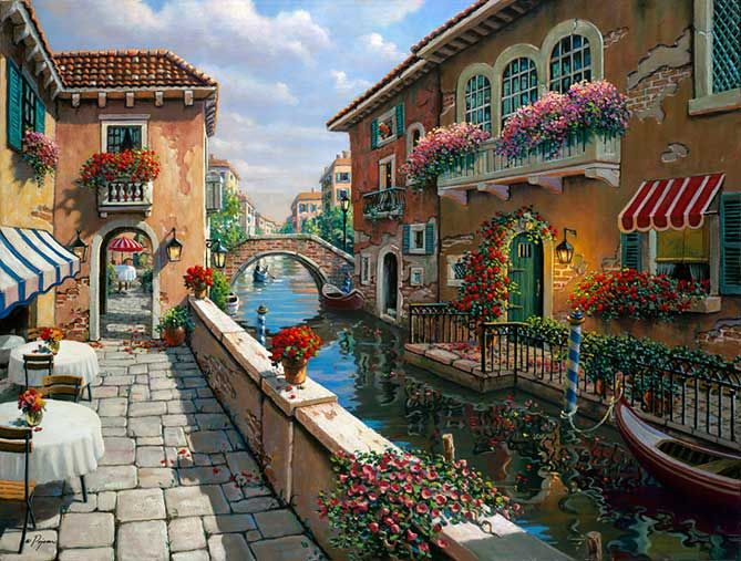 Afternoon in Venice -Robert Pejman- I have this print & is so pretty framed in a black frame...makes the red in the picture pop....