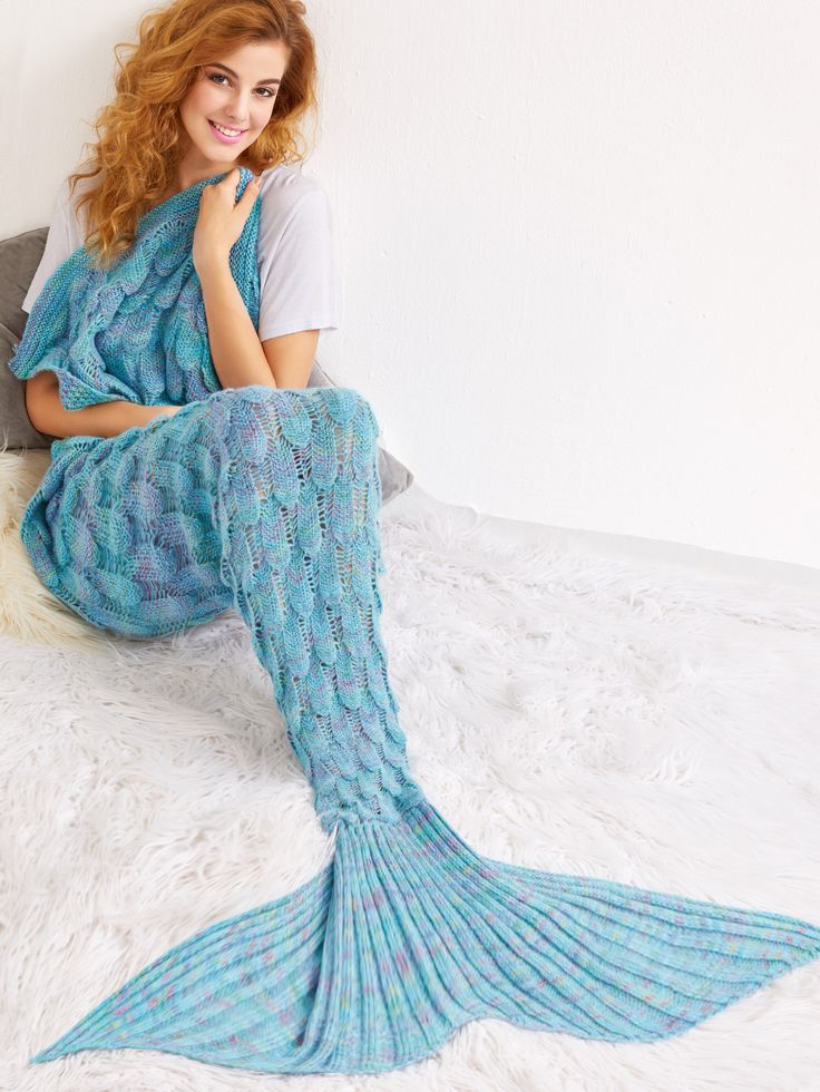 Manta de cola de sirena con diseño de escala de peces de croché - azul claro-Spanish SheIn(Sheinside)