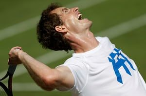 London, England: Andy Murray serves during the final practice day ahead of the 2017 Wimbledon tennis championships at the All England Lawn Tennis Club