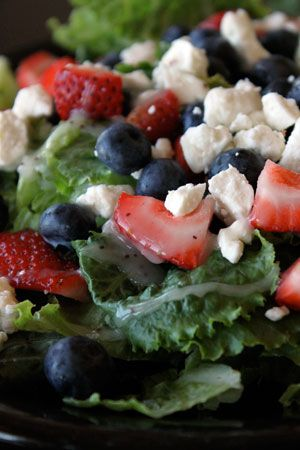 The Red White and Blue Sweet Summer Salad by greenlitebites #Salad #Strawberry #Blueberry #Feta #Poppy_Seed #Healthy