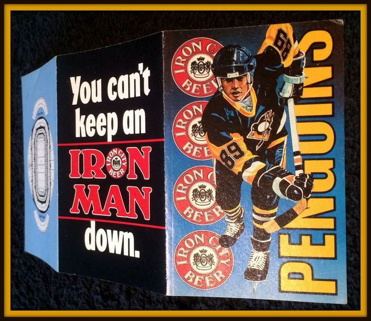 1989-90 PITTSBURGH PENGUINS IRON CITY BEER HOCKEY POCKET SCHEDULE  #Pocket #Schedule