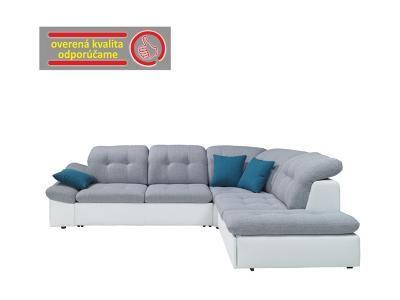 TEMPO KONDELA Rozkladacia rohová sedacia súprava s úložným priestorom, P prevedenie, ekokoža biela/látka sivá, NARAVO