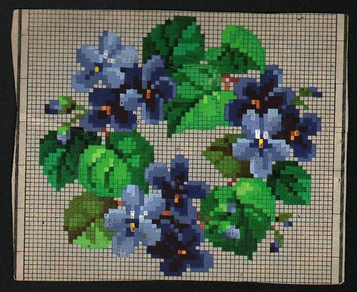 Woolwork chart: blue violets