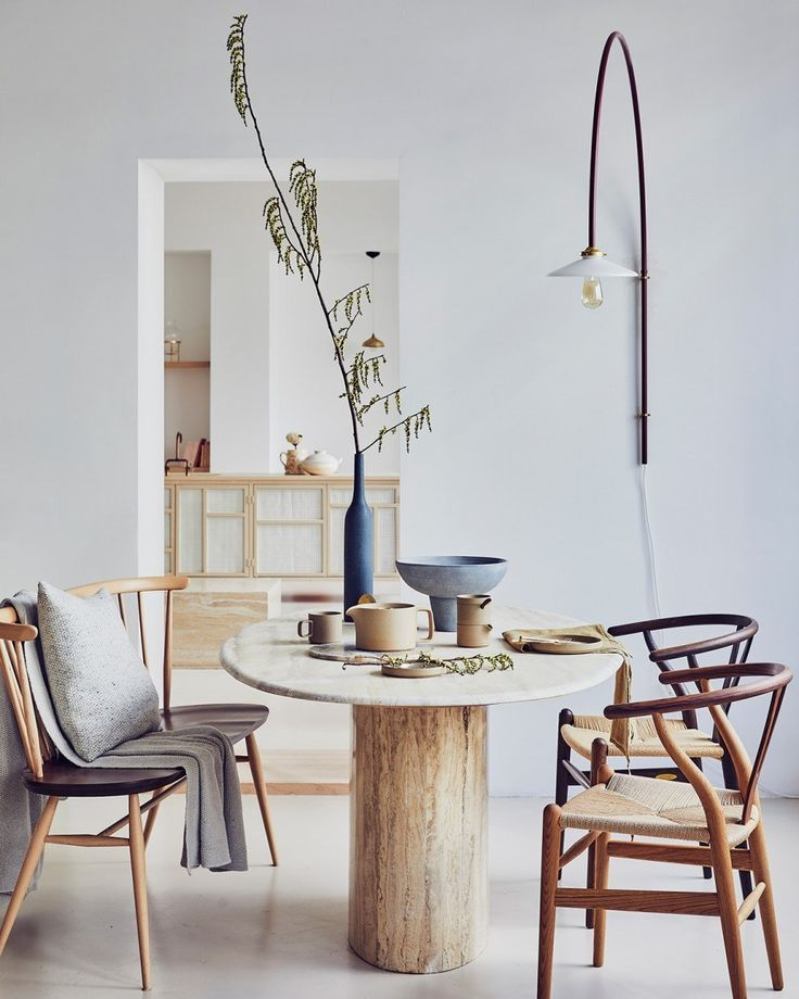 In Interior Design Natural Materials Are Perfect With The Ecological Awareness Raising The Interi Dining Room Table Centerpieces Interior Dining Room Design