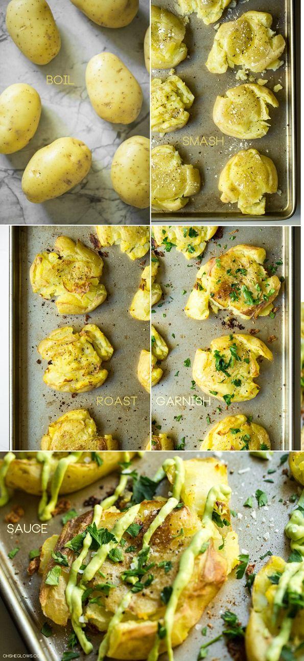 Crispy Smashed Potatoes with Avocado Garlic Aioli by ohsheglows #Potatoes #Avocado #Garlic