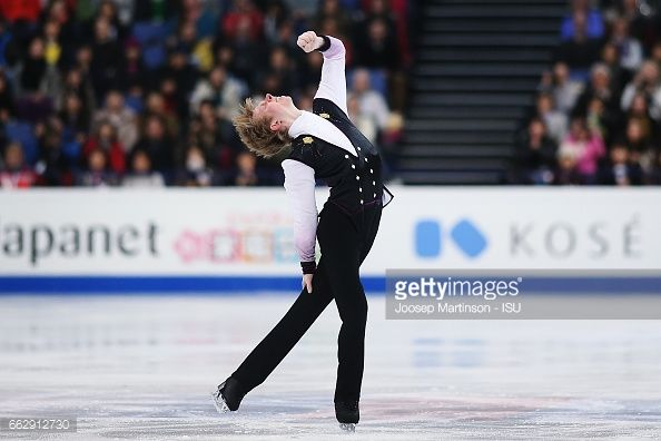 HELSINKI, FINLAND - APRIL 01: Kevin Reynolds of Canada competes in the Men's Free Skating during day four of the World Figure Skating Championships at Hartwall Arena on April 1, 2017 in Helsinki, Finland. (Photo by Joosep Martinson - ISU/ISU via Getty Images)