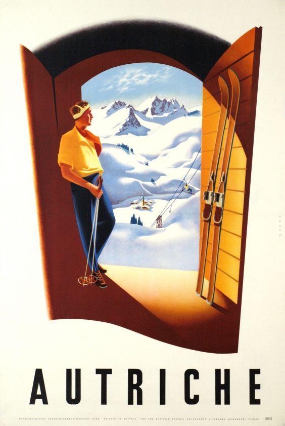 vintage ski poster. Austia, The door to wintersport. circa 1950....réépinglé par Maurie Daboux ✺❃✿