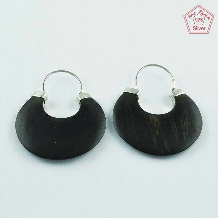 Antique Real Solid 925 Sterling Dotted Wooden Hoop Earrings E3629 #SilvexImagesIndiaPvtLtd #Hoop