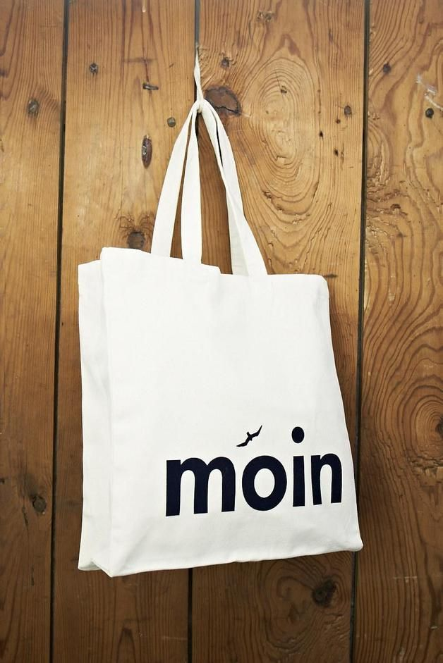 "Jute-Schultertasche ""MOIN"", maritime Geschenkidee / hipster tote bag, maritime with typo ""ahoi"" by Ahoimarie via DaWanda.com"