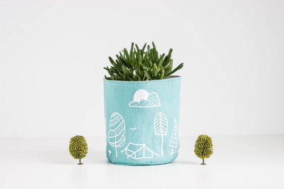 Mint Linen Basket Mint linen storage Fabric container by MUNIshop