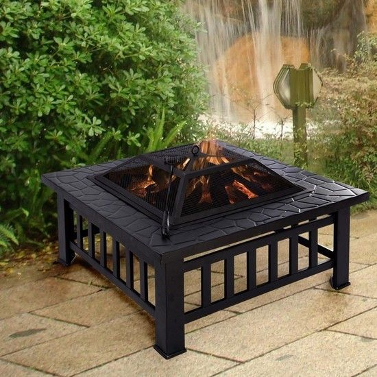 """Fire Pit Square Metal 32"""" Outdoor Patio Garden Stove BBQ Fireplace Home NEW #1"""